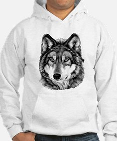 Painted Wolf Grayscale Hoodie