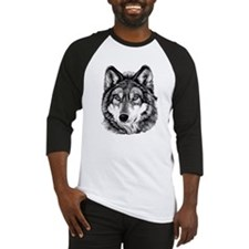 Painted Wolf Grayscale Baseball Jersey