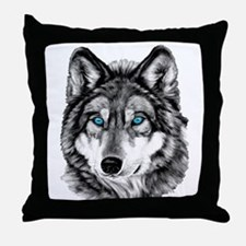 Painted Wolf Grayscale Throw Pillow