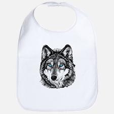 Painted Wolf Grayscale Bib