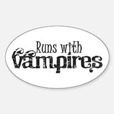 Runs With Vampires Oval Decal