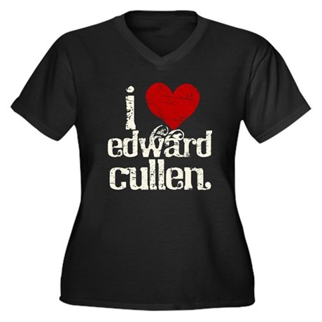 I Love Edward Cullen Women's Plus Size V-Neck Dark