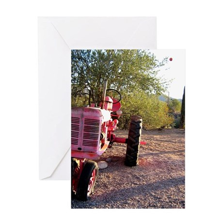 pink tractor Greeting Cards