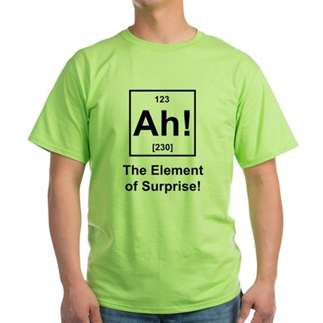 """Ah, The Element of Surprise"" Green T-Shirt"