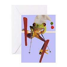 Ski Frog Greeting Cards