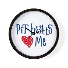 Pit Bulls Love Me Wall Clock