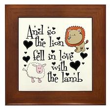 Lion fell in love with lamb Framed Tile