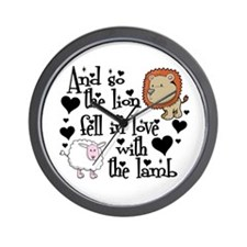 Lion fell in love with lamb Wall Clock