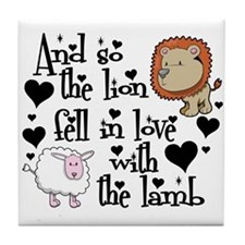 Lion fell in love with lamb Tile Coaster