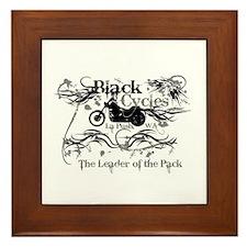 Black Cycles Framed Tile