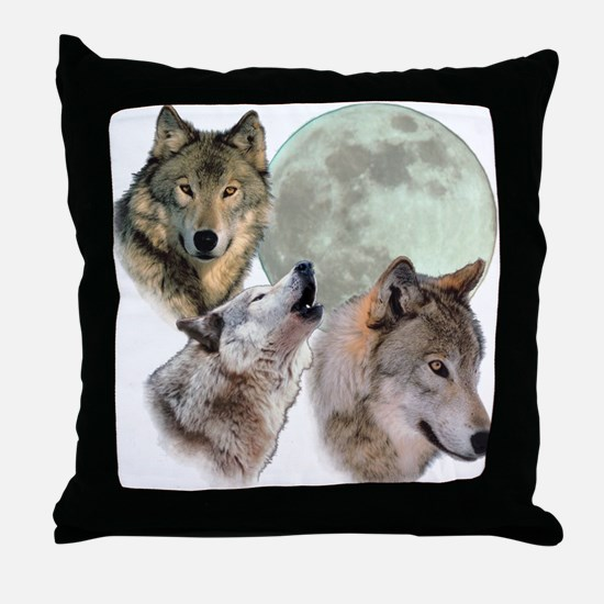 New Moon Wolf Throw Pillow