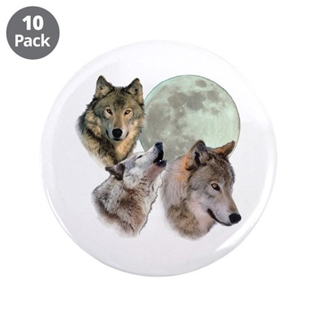 "New Moon Wolf 3.5"" Button (10 pack)"