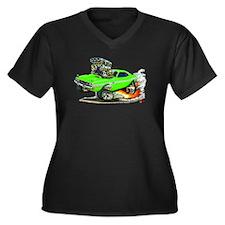 Dodge Challenger Green Car Women's Plus Size V-Nec