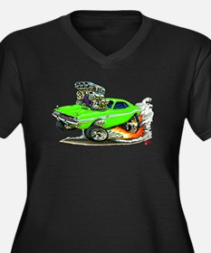 Dodge Challenger Green Car Women's Plus Size V-Nec