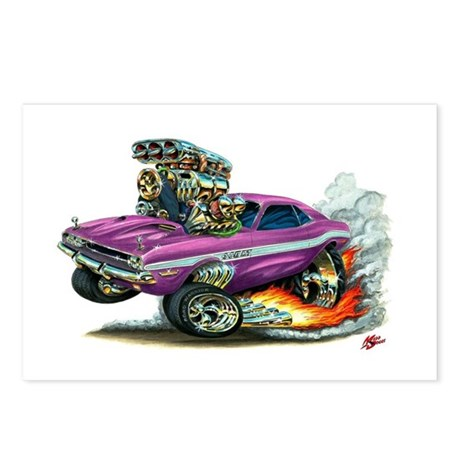 Dodge Challenger Purple Car Postcards (Package of
