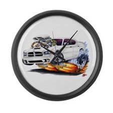 Dodge Charger White Car Large Wall Clock