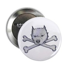 "Pit Bull and Crossbones 2.25"" Button"