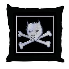 Pit Bull and Crossbones Throw Pillow
