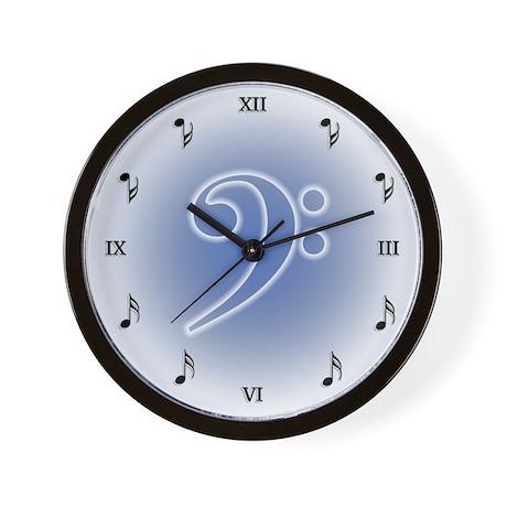 Muted Bass Clef Wall Clock