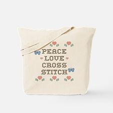 Peace Love Cross Stitch Tote Bag