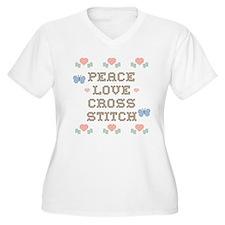 Peace Love Cross Stitch T-Shirt