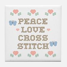 Peace Love Cross Stitch Tile Coaster