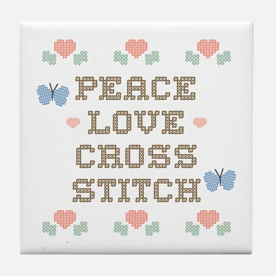Peace Love Cross Stitch Tile Coaster