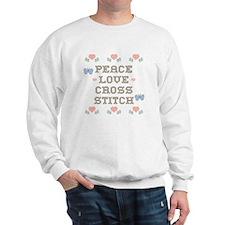 Peace Love Cross Stitch Sweatshirt