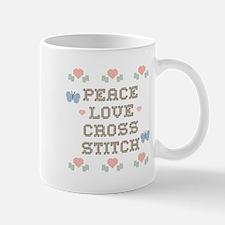Peace Love Cross Stitch Mug
