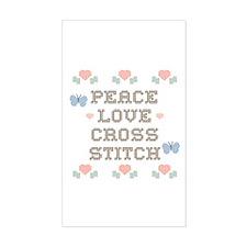 Peace Love Cross Stitch Rectangle Decal