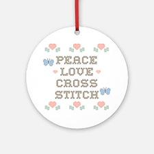 Peace Love Cross Stitch Ornament (Round)