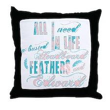 Headboard feathers & Edward Throw Pillow