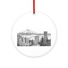 Portland/Mt. Hood Ornament (Round)
