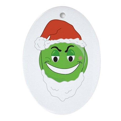 GRINCH SMILEY! Oval Ornament