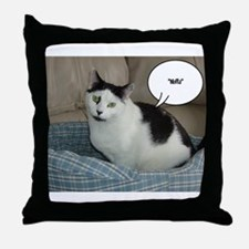 Funny White and Black Cat Throw Pillow
