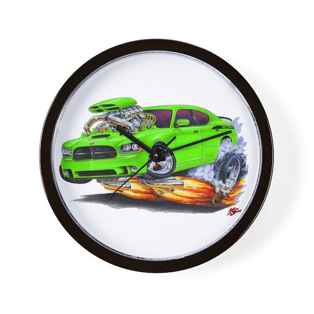 Charger Daytona Green Car Wall Clock By Madddoggsmopars
