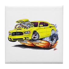 Charger Daytona Yellow Car Tile Coaster