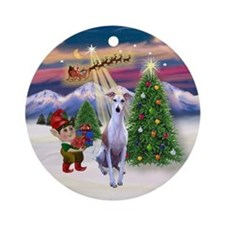 Whippet and Santa's Take-off Ornament (Round)