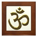 Golden Ohm & Buddha Quote Framed Tile