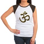 Golden Ohm & Buddha Quote Women's Cap Sleeve T-Shi
