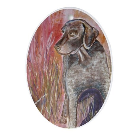 """""""Cooper """" a German Shorthaire Oval Ornament"""