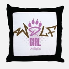 Twilight Wolf Girl Throw Pillow
