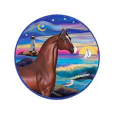 """Wave/Horse( Ar-Brn) 3.5"""" Button"""