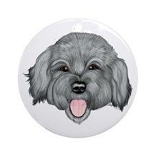 Grey Schnoodle Ornament (Round)