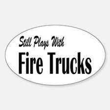 Plays with Fire Trucks Oval Decal