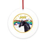 Xmas Music 1/Black Arabian Horse Ornament (Round)