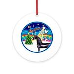 Xmas Music 3/Black Arabian Horse Ornament (Round)