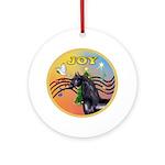 Xmas Music 2/Black Arabian Horse Ornament (Round)