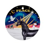 Xmas Sunrise/ Black Arabian Horse Ornament (Round)