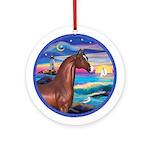 Rocks/Sea-Horse (Ar-brown) Ornament (Round)